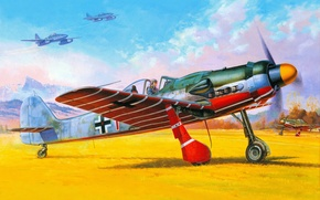 Картинка горы, рисунок, арт, аэродром, Messerschmitt, самолёты, реактивные, истребители-бомбардировщики, WW2, немецкие, небе, земле, Me.262, FW - …