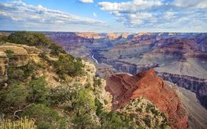 Картинка облака, деревья, река, каньон
