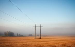 Обои поле, туман, лэп, пейзаж