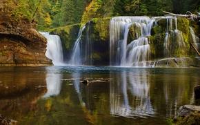 Картинка осень, лес, озеро, водопад, каскад