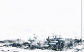 Обои белый, город, индастриал, завод, снежный, техно