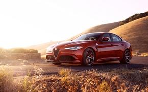 Картинка car, Alfa Romeo, red, Quadrifoglio, Giulia