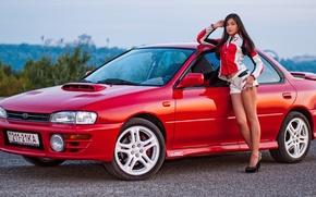 Картинка Subaru, Impreza, Girl, Beautiful, Feet