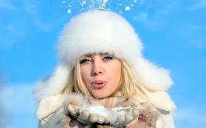 Картинка зима, девушка, снег, блондинка