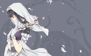 Картинка девушка, веточка, лепестки, сакура, Clouble