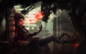 Картинка cyberpunk, сигарета, дым, девушка, курит, фантастика, робот
