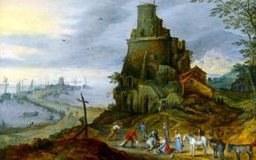 Обои картина, башня, пейзаж, Ян Брейгель младший, люди, Морской Берег с Руинами Замка