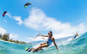 Картинка море, лето, отдых, спорт, Девушка