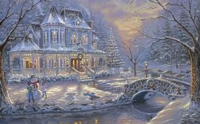 Обои холод, зима, снег, украшения, мост, дети, река, елки, лёд, ели, мороз, снеговик, ёлка, ice, живопись, ...