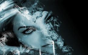 Картинка девушка, дым, лазурь, растворение