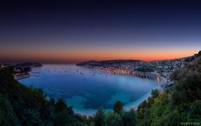 Картинка закат, бухта, вечер, залив, сумерки, Монако, панорамма, French Riviera, Cote d'Azur, Villefranche sur Mer
