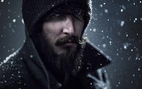 Картинка взгляд, снег, портрет, Bruce Wayne