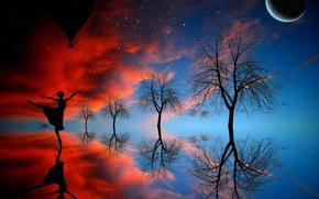 Обои девушка, деревья, луна, танец