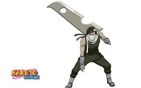 Картинка Naruto, стойка, ninja, бинт, Momochi Zabuza, Наруто Ураганные хроники, повязка на лоб, огромный меч