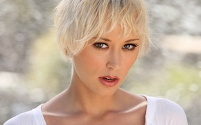 Картинка взгляд, блондинка, Brooke Taylor, пирсинг.