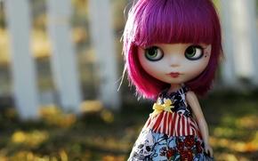 Картинка глаза, волосы, череп, розы, кукла, платье, фиолетовые