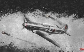 Картинка небо, война, истребитель, Арт, советский, поршневой, одномоторный, War Thunder, Як-3, Яковлев, hibikirus