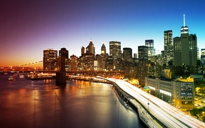 Обои мост, огни, дома, Нью-Йорк, небоскребы, вечер, США, набережная, Manhattan, New York City
