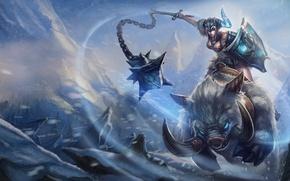 Картинка девушка, снег, арт, щит, кабан, League of Legends, knockwurst, sejuani
