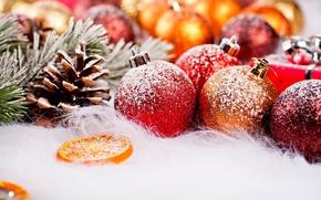 Картинка зима, снег, праздник, шары, новый год, рождество, фрукты, christmas, new year, шишки