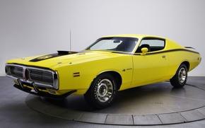 Картинка фон, Додж, 1971, Dodge, Charger, передок, Мускул кар, Super Bee, Чарджер, желтый.Muscle car
