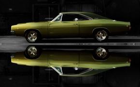 Картинка car, машина, авто, Dodge, зеленая, Charger, 1968