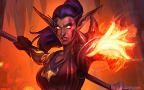 Картинка девушка, магия, карта, арт, WoW, World of Warcraft, Hearthstone, ночной эльф, Blackrock Mountain, Друид пламени, …