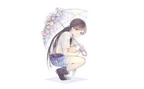 Картинка шорты, зонт, кролик, девочка, белый фон, сапожки, сидит, длинные волосы, art, на корточках, вьюнок, Seuga