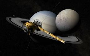 Обои космос, звезды, сатурн, автоматический, космический аппарат, Кассини-Гюйгенс