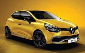 Картинка Машина, Машины, Renault, Clio, Car, Жёлтый, Автомобиль, Рено, Cars, Yellow, Автомобили, РС 200, Клио, RS …