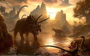 Картинка горы, вечер, Kerem Beyit, динозавры, миры, водопой