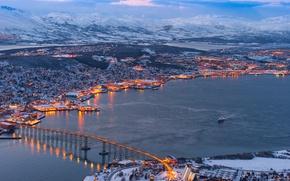 Картинка зима, пейзаж, мост, природа, город, река, фото, дома, Норвегия, Tromso