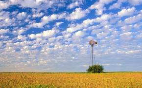 Картинка поле, небо, облака, ветряк
