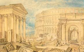 Картинка картина, развалины, колонны, храм, руины, городской пейзаж, Уильям Тёрнер