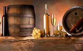 Обои вино, белое, бокалы, виноград, бочки, гроздья
