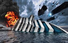 Картинка вода, пожар, огонь, корабль, яхта, истребители, нападение, aliens, флот, пришельцы, звездолёты, инопланетяне, космические корабли, подбитый, …