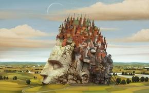 Картинка город, новый вавилон, башка