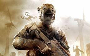 Картинка оружие, black ops 2, солдат, call of duty, ветряки, военный