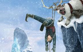 Картинка снег, снежинки, лёд, олень, Frozen, королевство, Walt Disney, анимация, Уолт Дисней, 2013, Холодное Сердце, Ганс, …