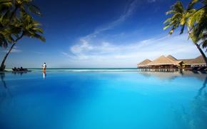 Обои пальмы, океан, бассейн, курорт, fantastic Maldives