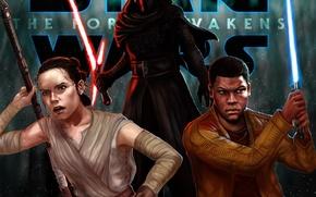 Картинка Мечи, Finn, Kylo Ren, Rey, Звёздные войны: Пробуждение Силы