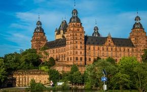 Обои Германия, деревья, Бавария, Castle Johannesburg, река, замок
