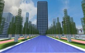 Картинка небо, вода, облака, деревья, city, город, парк, плитка, здания, дорожки, берёза, водоем, minecraft, plaza