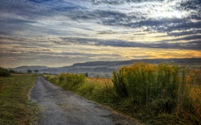 Картинка дорога, поле, пейзаж, закат, стиль