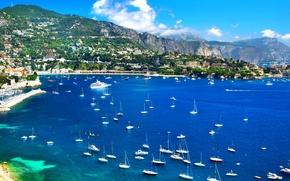 Картинка горы, Франция, дома, побережье, яхты, лодки, катера, море, Nice, Ницца, пейзаж