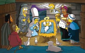 Обои Мардж, Доктор Хилберт, Профессор, Симпсоны, Директор Скиннер, Гомер, The Simpsons, Карл, Ленни, Барт, Рождество, Лиза