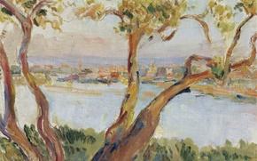 Картинка пейзаж, картина, Антиб, Анри Лебаск, View of Antibes
