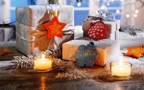 Картинка holiday, подарки, свечи, Happy New Year, snow, зима, Новый Год, snowflake, праздник, сердце, Merry Christmas, ...
