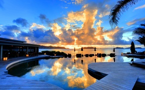 Картинка закат, океан, вечер, бассейн, отель, sunset, hotel Christopher