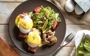 Картинка яйца, овощи, бекон, салат, пашот